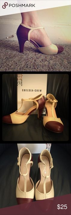 Chelsea Crew two-tone t-strap spectator heels 8 Burgundy and cream. Worn once to drive son to school & back home.  Adds 40's vibe to any outfit! Chelsea Crew Shoes Heels