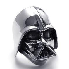 Fashion Punk Rock Creative Darth Vader Skull Titanium Stainless Steel Ring Men  $15.00