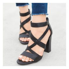 Chic Strappy Chunky Heels