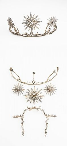 VICTORIAN DIAMOND TIARA formed from three graduated open-work sunbursts, each set with a diamond to the centre, pave-set overall with graduated round old-cut diamonds, within a millegrain-set diamond leaf and scrollwork frame, set in silver and gold, the tiara detaches from the frame to form three separate pendants or brooches and a necklace, with four loose yellow gold screw fitments.