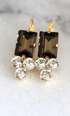 Smokey Quartz Crystal Earrings By Ilona Rubin   #earrings, #bridal, #jewelry, #wedding, #smokeyquartz