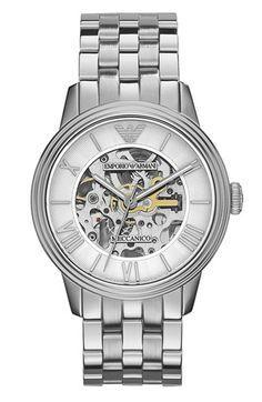 Emporio Armani Skeleton Dial Bracelet Watch, 39mm | Nordstrom