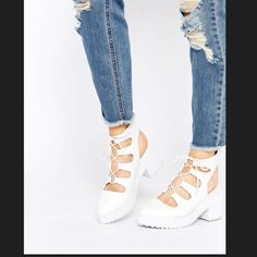 """NEWAmazing white lace up heels •Textured leather-look upper •Strappy design •Lace-up front •Point toe •Mid-high block sole and heel •Grooved tread •Wipe with a soft cloth •100% Polyurethane Upper •Heel height: 7.5cm/3"""" ASOS Shoes Heels"""