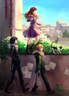 Noragami - I like that Yato is looking at Hiyori (because i ship them) and she is balancing like the cat in front of her. I always saw her as a cat phantom by the tail and she can smell other gods (specially Yato) Noragami Anime, Manga Anime, Anime Body, Yato And Hiyori, All Anime, Anime Girls, Anime Expo, Animation, Anime Quotes Tumblr