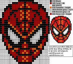 Spider Man mask hama perler pattern