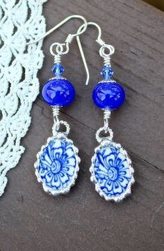 Earrings, Broken China Jewelry, Broken China Earrings, Lampwork Beads, Blue Willow China, Dangle Earings, Sterling Silver