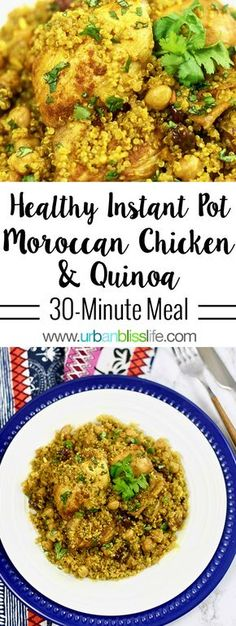 instant pot chicken recipes Healthy Instant Pot Moroccan Chicken is a fast, easy, and dressed up dinner for busy weeknights! Instant Pot Pressure Cooker, Pressure Cooker Recipes, Pressure Cooker Quinoa, Biryani, Healthy Chicken Recipes, Cooking Recipes, Healthy Instapot Recipes, Fast Recipes, Greek Recipes