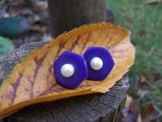 Vintage Purple Button Post Earrings with by autumnraincreations, $15.00