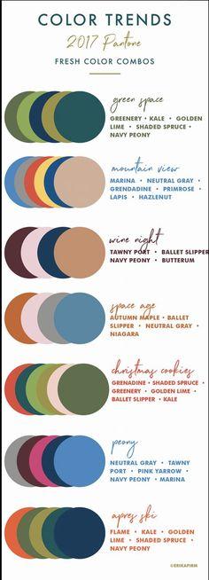 Color Trends 2017 Color Palettes by Erika Firm interiors Combinacion De Fall 2017 Pantone Colors Chart Colour Schemes, Color Combos, Color Combinations Outfits, Paint Combinations, Pantone Color Chart, Color Charts, Pantone 2017 Colour, 2017 Inspiration, Fashion Inspiration