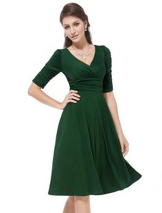 awesome Ever Pretty 34 Sleeve Ruched Waist Classy V-Neck Casual Cocktail Dress 03632