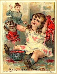 """Creepy Kids in Creepy Vintage Ads: """"Oh you know, just a murderous little girl covered in blood-colored dye. Zero remorse in her sociopathic facial expression."""