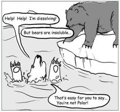 A little science humor, get it? It's funny because polar compounds are most apt to be soluble in polar solvents like water.