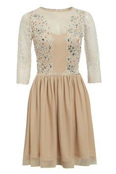 Frock and Frill Nude Beige Embellished Mini Dress Lace Long Sleeves V-Back 6-8 #FrockandFrill #FitFlareDress #Party