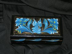 Russian Lacquer Black Blue Gold Painted Trinket Box Rectangle Wood Wooden Jewelry Box