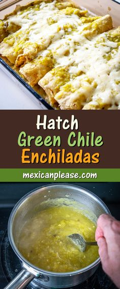 This is a wicked easy recipe for a savory batch of Hatch Green Chile Enchiladas. - This is a wicked easy recipe for a savory batch of Hatch Green Chile Enchiladas. Be sure to roast - Green Enchilada Recipe, Hatch Green Chili Recipe, Green Chili Enchiladas, Green Chicken Enchiladas, Green Chili Recipes, Green Chile Enchilada Sauce, Recipes With Enchilada Sauce, Mexican Food Recipes, Hatch Chili