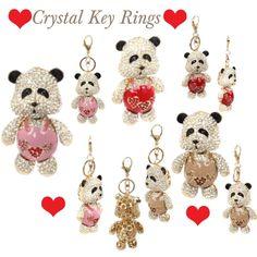 """Panda Crystal Key Rings"" by designerdesirables on Polyvore"