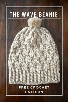 The Wave Beanie – Picot Pals Crochet Beanie Pattern, Crochet Mittens, Crochet Shawl, Crochet Baby, Free Crochet, Knitted Hats, Knit Crochet, Slouch Hats, Crochet Things