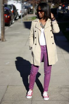 dressed down trench---love the jeans!