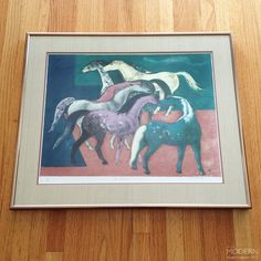 """Millard Sheets """"New Arrivals"""" Modern Horses Lithograph Print Signed Numbered"""