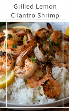 Grilled Lemon Cilantro Shrimp Simple and delicious Grilled Lemon Cilantro Shrimp are tender and flavorful, making it an easy weeknight dinner! Shellfish Recipes, Shrimp Recipes, Salmon Recipes, Cilantro Shrimp, Shrimp Dishes, How To Cook Shrimp, Grilling Recipes, Dinner Recipes, Dinner Ideas