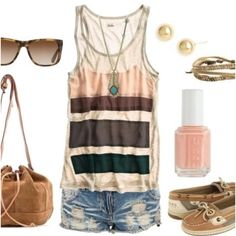 Summer Style: Cute block tank w/denim shorts and I love the shoes.