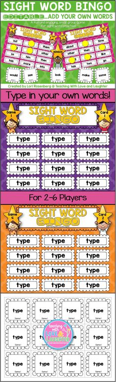 Sight Word Bingo {The First Hundred Words} Sight Word Bingo, Dolch Sight Words, Sight Word Practice, Preschool Sight Words, Sight Word Activities, Literacy Activities, Reading Activities, Literacy Centers, Teaching Reading