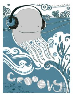 Groovy Whale Wall Decal at Art.com