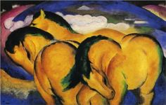 """Little Yellow Horses, 1912. Franz Marc pursued the representation of the horse--a central topic in the fine arts--as his life's work. As a co-founder of the """"Blaue Reiter"""" he created symbolic, visionary images which today stand among the icons of modernism. The horse became both subject and expression of the hope for better and more organic existence."""