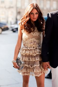 lace...this dress is very romantic..appears to be see through, but is lined! detail and ruffle..is so sweet!