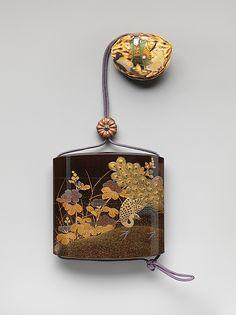 Koma Yasutada | Inrō with Peacocks and Flowers | Japan | Edo period (1615–1868) | The Met