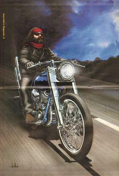 David Mann ''Outrunning The Storm'' 16'' x 20'' Matted Biker Art #9211ezrxmc
