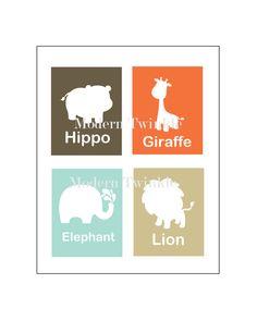 Digital File Jungle elephant lion giraffe hippo print little girl boy Baby art Modern art children kid bedroom playroom educational