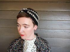 Popcorn Turban Headband in Coal Black and Tan
