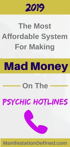 This is the most powerful and affordable system I've ever tried for making the most money on the psychic hotlines (even part-time! Psychic Hotline, Mad Money, Psychic Development, Law Of Attraction Tips, How To Apply, How To Get, Tarot Spreads, Tarot Readers, Creating A Business