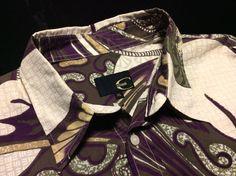 RARE Original JUST CAVALLI Mens XL Natural Purple Olive Dragon Eel Print Shirt #Cavalli #ButtonFront $149.99   Men's Fashion   Menswear   Spring/Summer Look   Shop at DesignerClothingFans.com