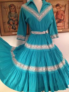 Beautiful 1950s Teal Squaw Patio Dress--Silver Ric Rac and Ribbon Trim