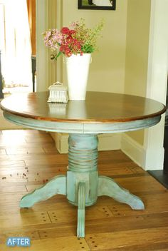 New Kitchen Table Makeover Teal Painted Furniture Ideas Refurbished Furniture, Repurposed Furniture, Furniture Makeover, Painted Furniture, Refinished Table, Painted Chairs, Distressed Furniture, Furniture Projects, Furniture Making