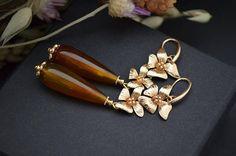 Gemstone earrings, Long earrings, Teardrop earrings, Flower earrings, Floral earrings, Gold earrings, Gold filled earrings, Statement earrings, Delicate earrings, Autumn earrings, Brown bead earrings, Brown earrings long, Gift for woman