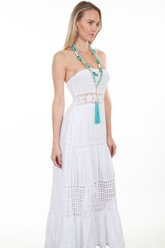 2620797c3da This Womens Peruvian Cotton Full Length White Tube Dress features a lace  inset at the waist and smocked top. It has multi panels with crochet panels in  the ...