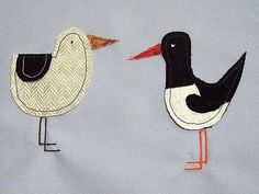 Seagull and Oyster catcher applique for a bag