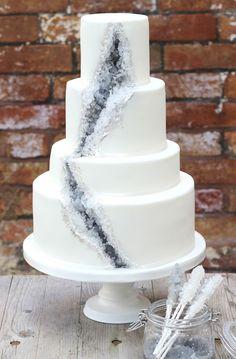 Gray And Silver Gem Cake Pantone 2017 Wedding Inspiration Neutral Gray 788