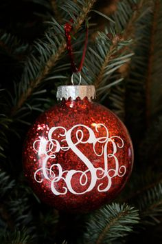 Monogrammed Glitter Christmas Ornament by lindseyhuckabee on Etsy