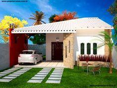 Projetar Casas | Projeto de casa térrea com 2 quartos e 1 suíte e garagem para 2 carros - Cód 31
