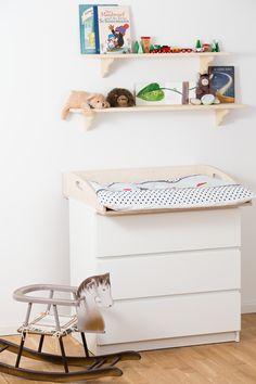 Ikea Wickelaufsatz für Malm Kommode aus Birkenschichtholz mit abgerundeten Kanten