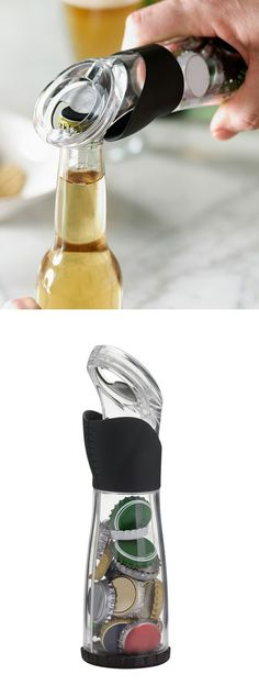 Bottle Opener catches caps... useful in service industry and possibly effective 1-handed. No cap drops.
