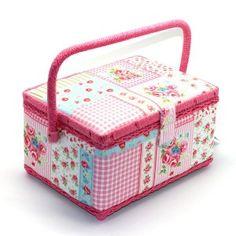 naaibox roze patchwork middelgroot