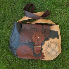 Steampunk leather bag patchwork leather by GloberinaDesign on Etsy