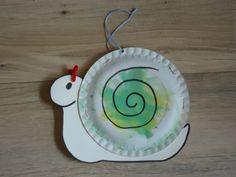 Slak:Variatie op een idee van pinterst. Gebruik twee bordjes zodat er een echt huisje ontstaat. Met nietjes vastnieten: lijm laat na een poosje los! Bordjes zijn beschilderd met waterverf. De voelsprietjes zijn van een stukje pijpenrager gemaakt. K Crafts, Arts And Crafts, Decorative Plates, Activities, Fall, Tableware, Facebook, Children, Autumn