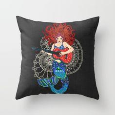 Musical Mermaid Throw Pillow by micklyn Couch Pillows, Throw Pillows, Mermaid Pillow, Ipad Case, Musicals, Cushions, Decorative Pillows, Decor Pillows, Sofa Cushions