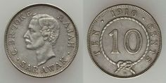 Beautiful Sarawak Silver Coin 1910 Scarce Small 10 Cents Charles C. Brooke Bust Mint Mark H